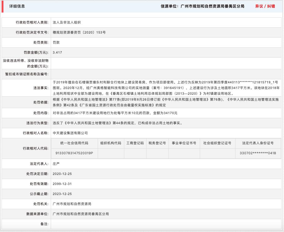 中天建设集团涉非法占用土地被广州主管部门处罚