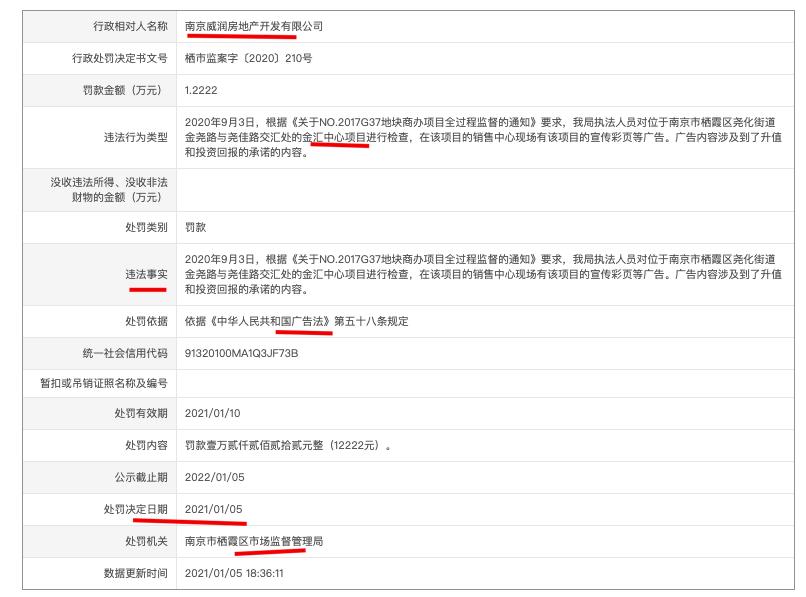 南京威润房地产公司金汇中心项目涉广告违法被主管部门处罚