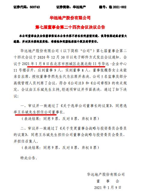 华远地产称董事会选举王乐斌为公司新任董事长 料4月17日披露年报