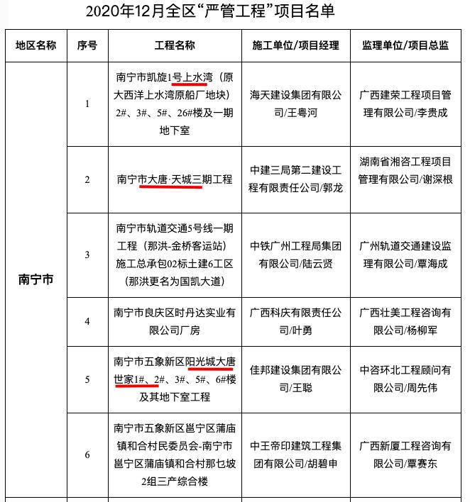 """凯旋1号上水湾、大唐天城三期、阳光城大唐世家入选南宁12月""""严管工程""""名单被通报"""