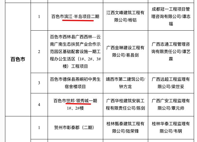 """滨江半岛项目2期、百色市世邦领秀城1期入选百色12月""""严管工程""""名单被通报"""