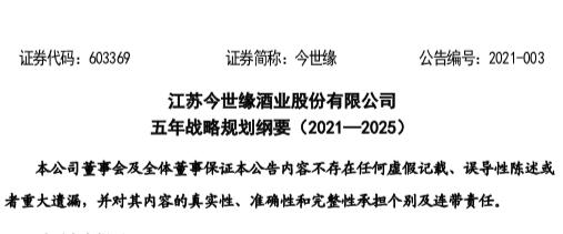今世缘称营收目标2025年过百亿受上交所问询 要求提交客观依据