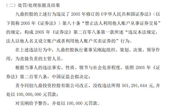 九鼎集团董事长操控他人账户盈利5亿元被罚60万