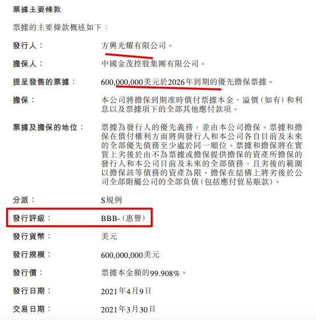 中国金茂现金运转术:票据利率3.20%新发6亿美元债