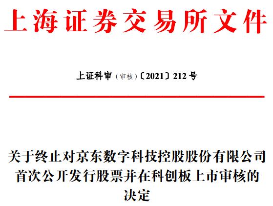 上交所终止京东数科科创板首次上市申请