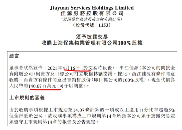 佳源服务以1.41亿收购上海保集物管 后者在管建面407万平