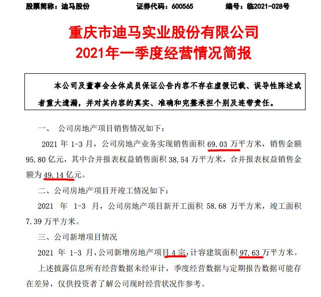 迪马股份控股51.04%的东原仁知服务获受理境外上市 首季地产销售95.8亿
