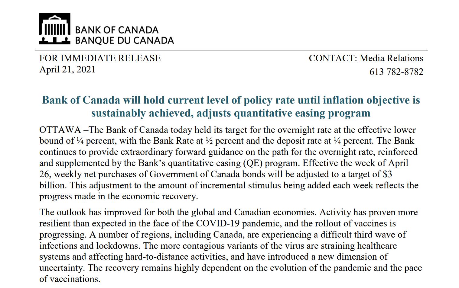 加拿大央行提前加息指引至2022年 缩减债券购买计划