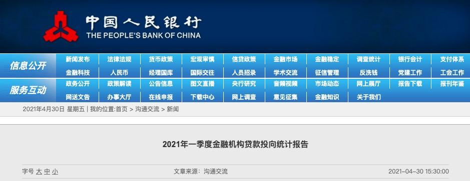 一季度贷款余额180.41万亿元,同比增长12.6%