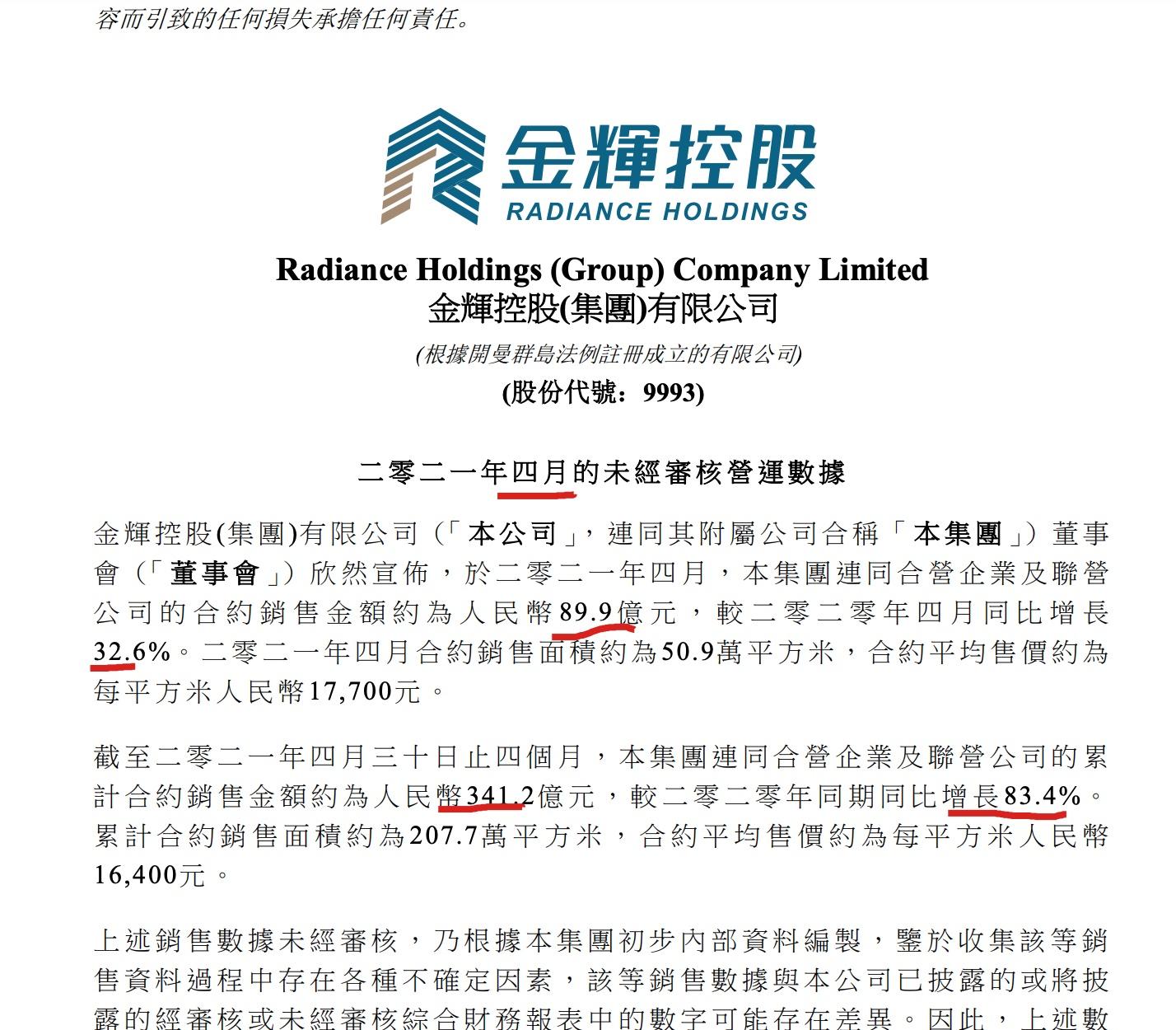 金辉控股前4月销售同比增83.4% 继总负债后流动负债再破千亿
