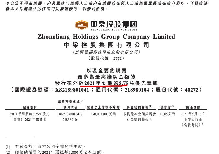 中梁控股拟回购2.5亿美元即将到期优先票据