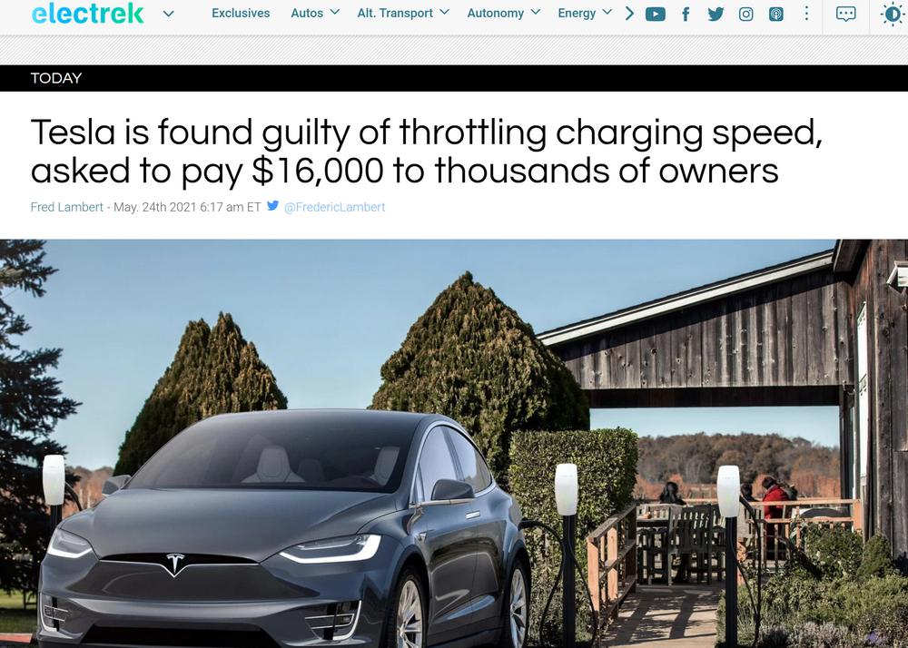 限制充电速度 特斯拉被判向30位车主各赔1.6万美元