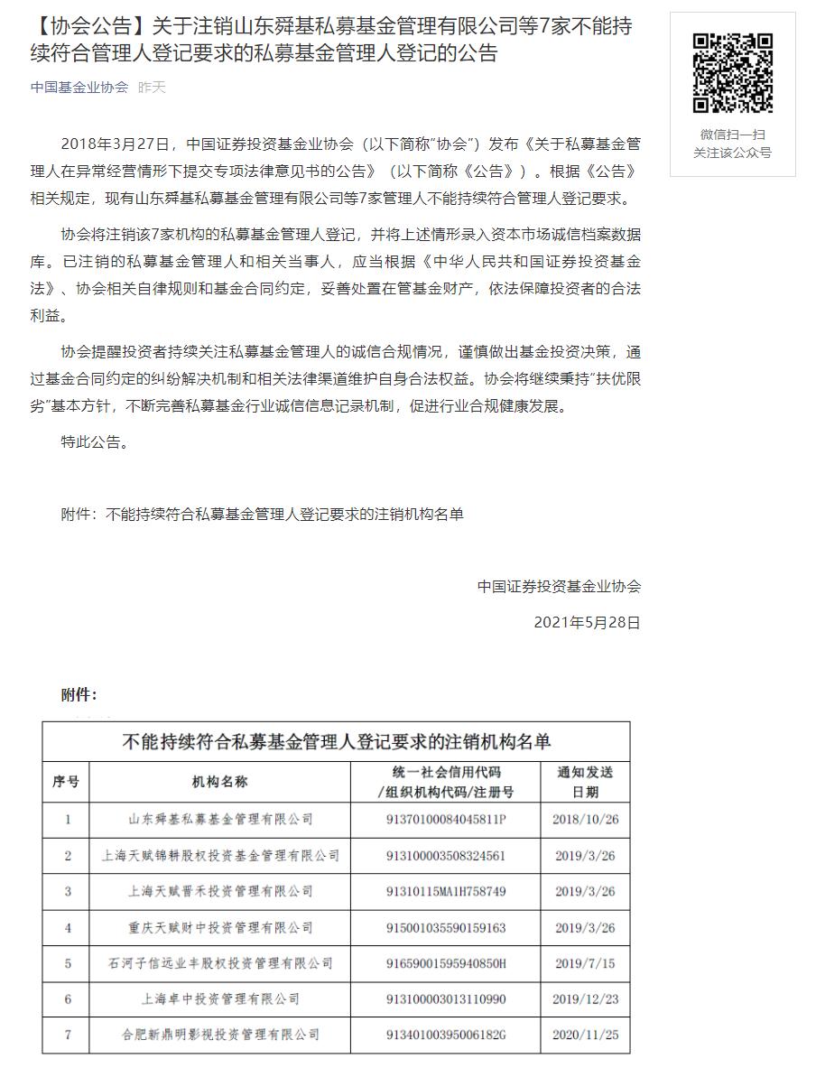 中基协再注销山东舜基等7家私募,年内已注销462家