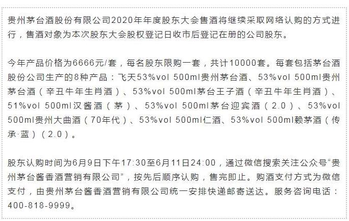 茅台股东大会:每名股东可认购一套6666元产品 共计1万套