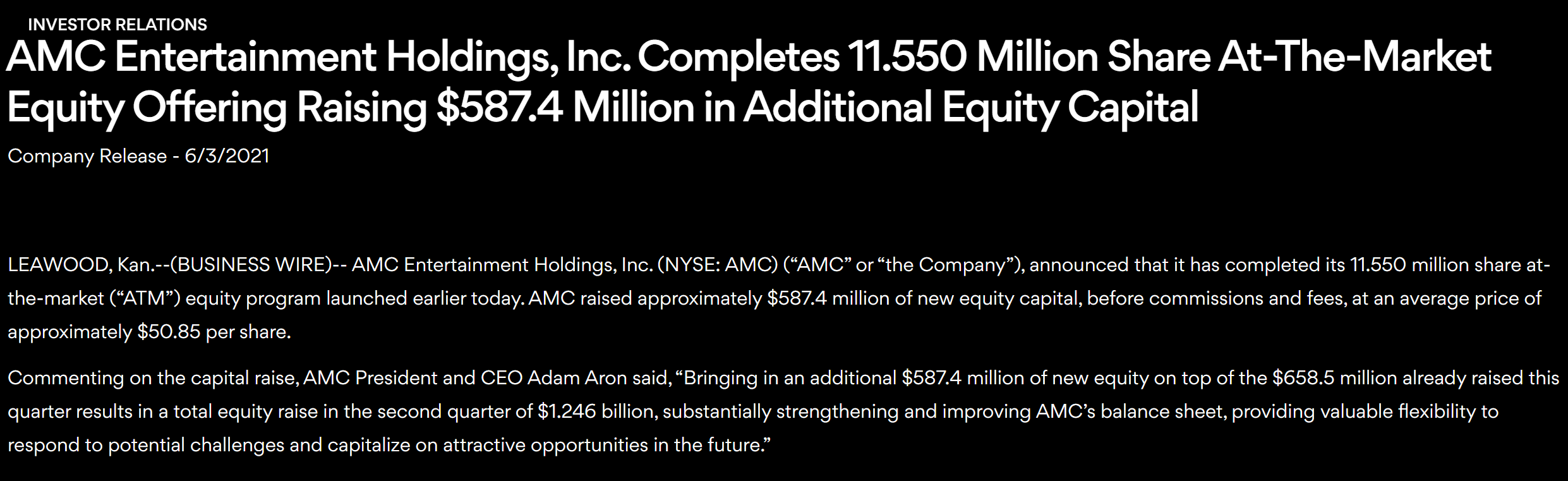 AMC院线再度完成大额股票出售 本季度狂揽12亿美元