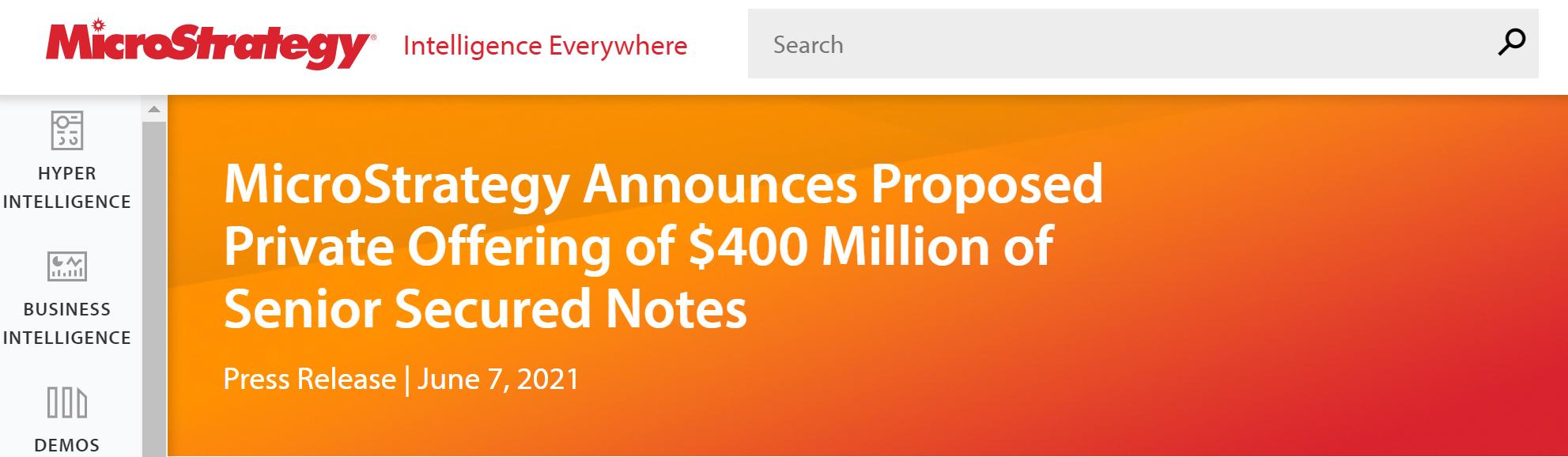 大多头MicroStrategy拟发债4亿美元加码比特币