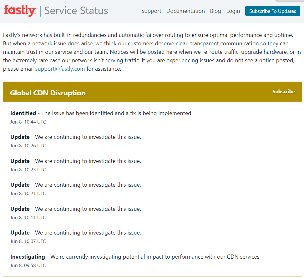 网络服务商故障 全球几十家大型网站短时集体下线