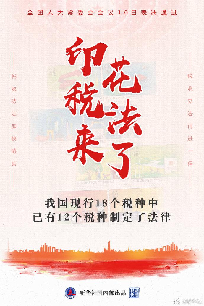 通过!印花税法来了 中国18个税种已有12个立法
