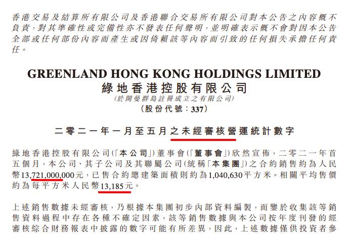 绿地香港前5月销售137.21亿 完成年目标600亿刚超两成
