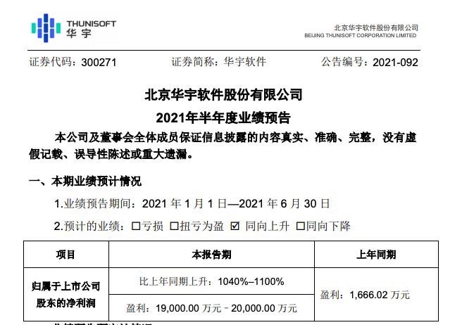 华宇软件:预计上半年净利增长1040%–1100%,营收预增约1.7倍