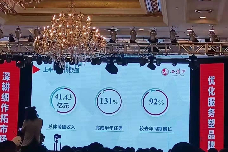 西凤酒上半年销售收入41.43亿 大单品红西凤增长400%