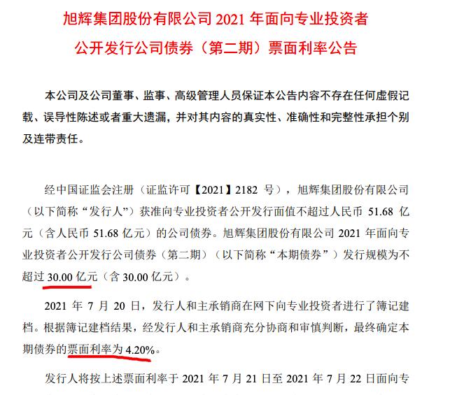 旭辉新发公司债利率4.2% 其总负债近3000亿已发债券额超460亿
