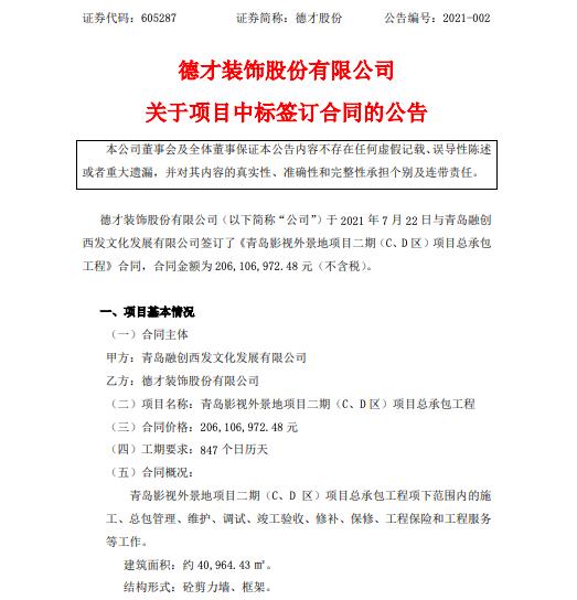 德才股份公告:签订青岛影视外景地项目二期C、D区承包合同