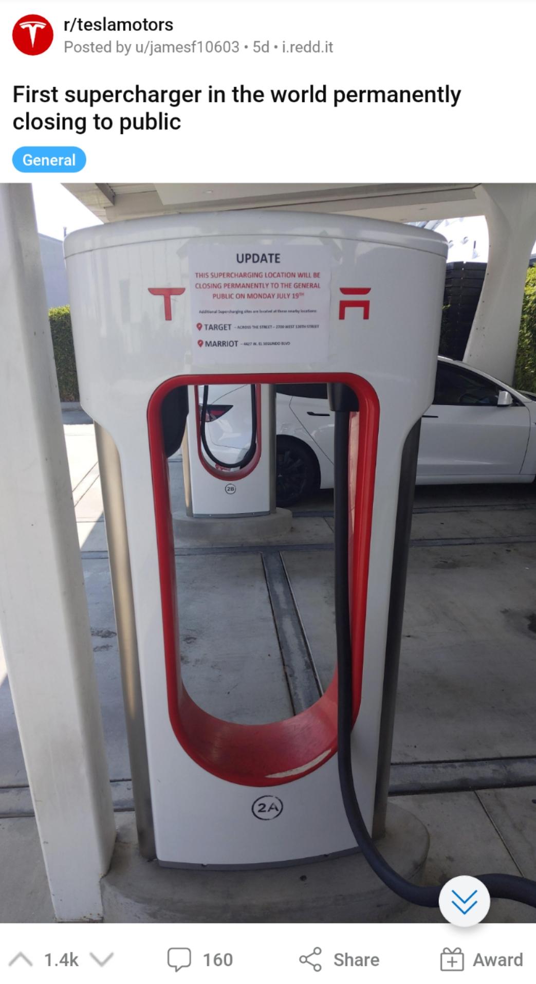 特斯拉第一个超级充电站宣布对公众关闭 未公布具体原因