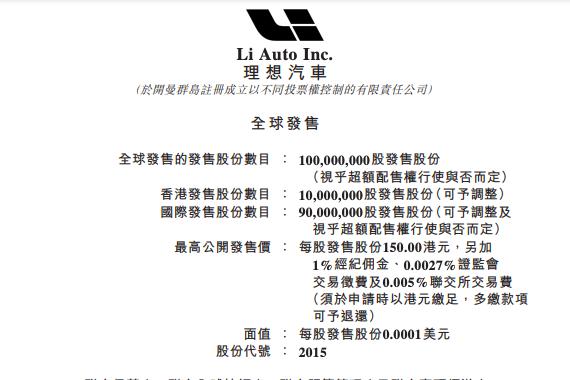理想汽车启动香港公开发售计划:每股150港元