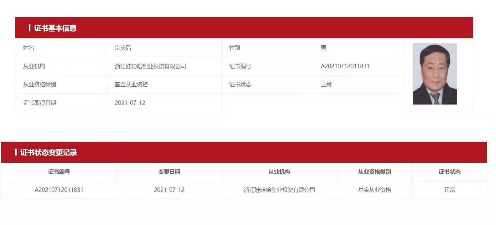 67岁中国首富钟��进军私募基金,身家4454亿元