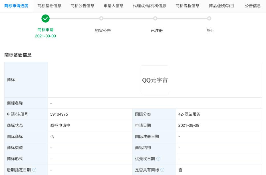 """腾讯申请注册""""QQ元宇宙""""商标 国际分类涉及网站服务"""