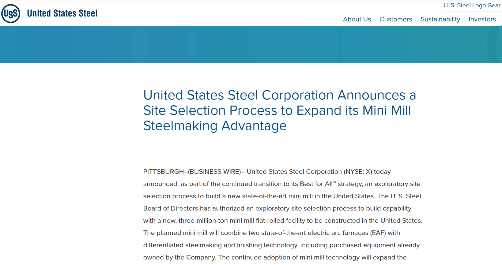美国钢铁公司拟斥资30亿美元建一新钢厂 押注钢价将持续走强