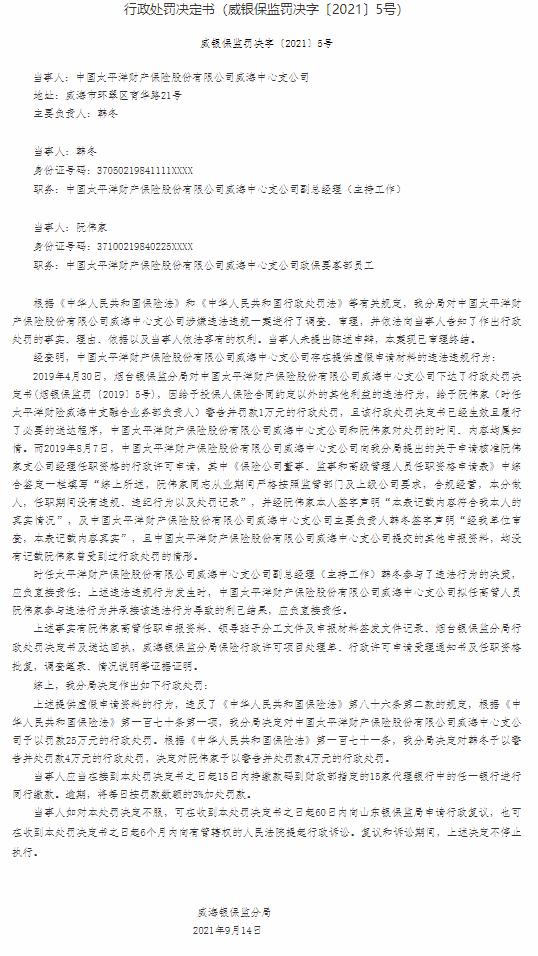 因提供虚假申请材料 中国太平洋财产保险股份有限公司威海中心支公司被罚25万