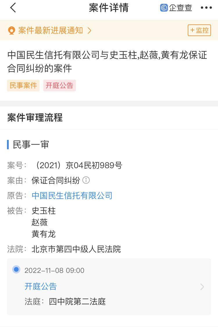 中国民生信托状告赵薇、黄有龙、史玉柱 系保证合同纠纷