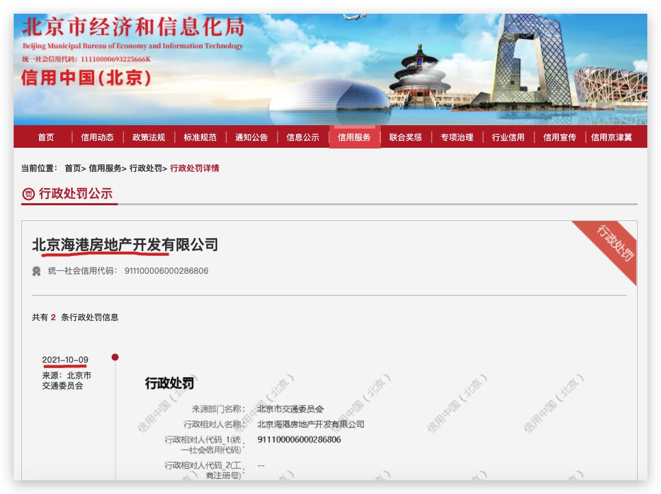 北京海港房地产违规施工被罚 其系原鲁能置业集团全资子公司