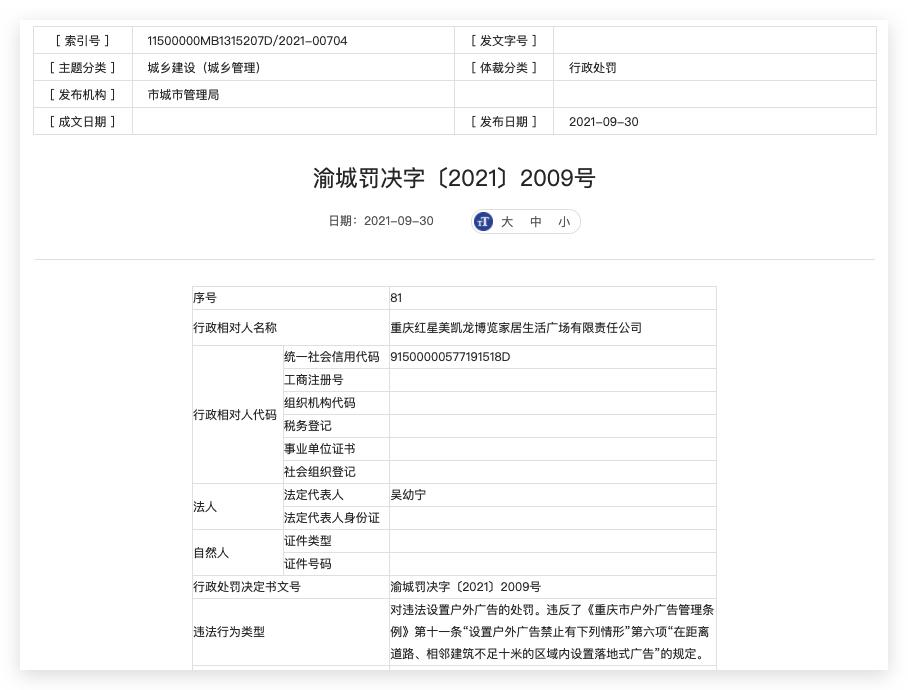 重庆红星美凯龙违法设置户外广告被主管部门处罚