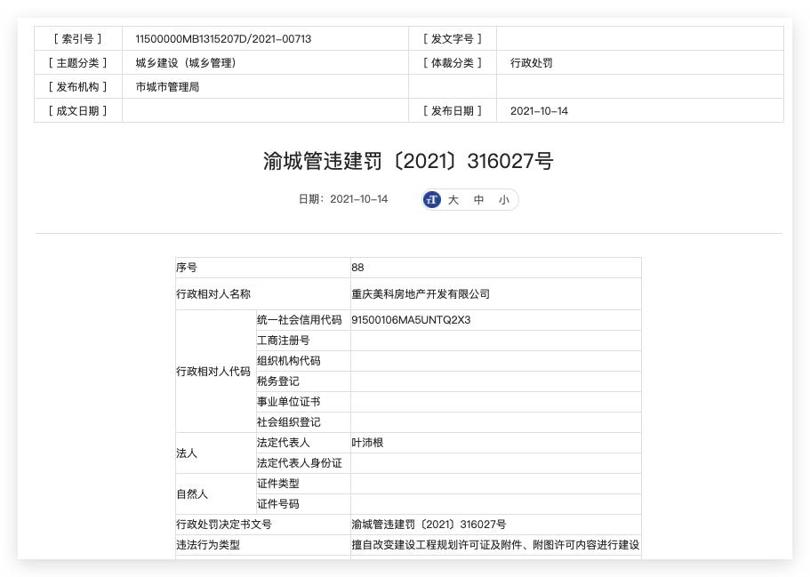 重庆美科房地产违规施工被主管部门处罚超50万元