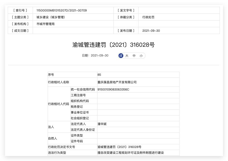 重庆葆昌房地产违法建设被罚 其系保利发展持股超50%的子公司